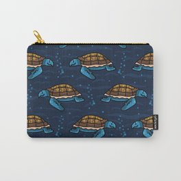 Cute swimming group of sea turtles cartoon seamless pattern. Carry-All Pouch