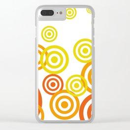 Spirals yellow orange - white Background Clear iPhone Case