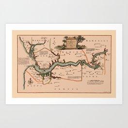 Map Of Gambia 1745 Art Print