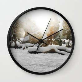 Laden in snow Wall Clock