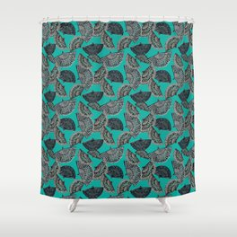 Fans on teal scattered Shower Curtain
