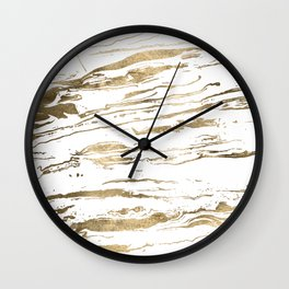 Gold abstract marbleized paint Wall Clock