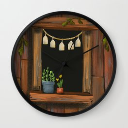 sunny day cabin in the woods Wall Clock