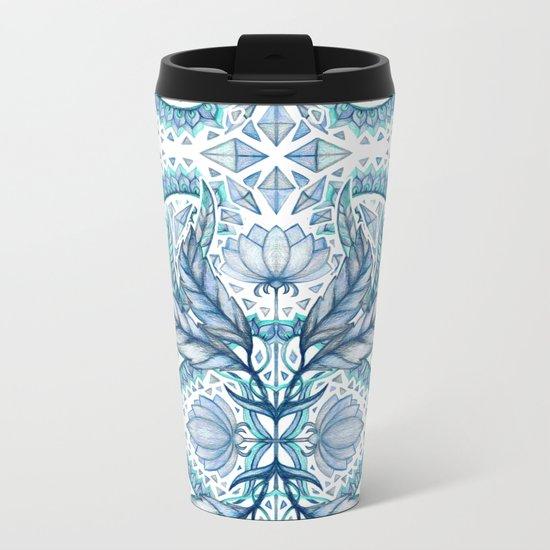 Lily, Leaf & Triangle Pattern – blues Metal Travel Mug