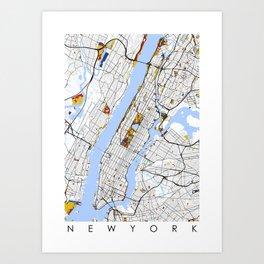 New York City Map United States Mondrian color Art Print