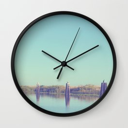 water and pilings Wall Clock