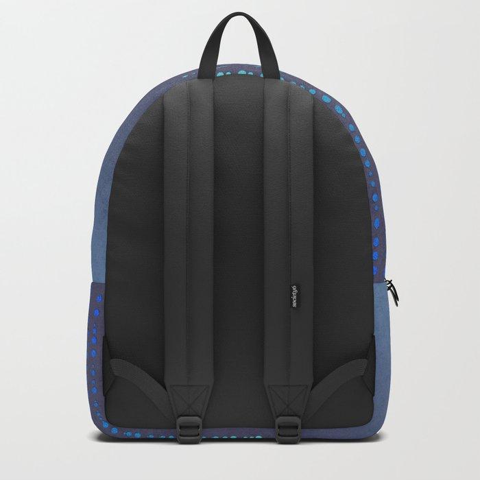 Dark Glamour blue faux glitter rhinestones Backpack