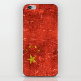 Vintage Aged and Scratched Chinese Flag iPhone Skin