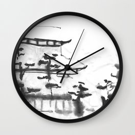 Traditional Japanese house in snow Wall Clock