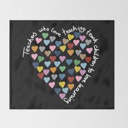 Hearts Heart Teacher Black Throw Blanket
