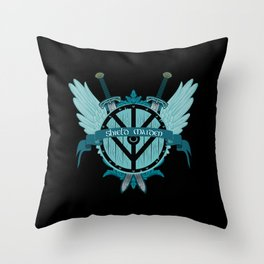 Shield Maiden Winged Teal Viking Shield Throw Pillow