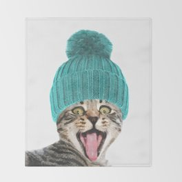 Cat with hat illustration Throw Blanket