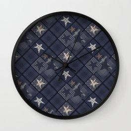 Gray blue patchwork Wall Clock