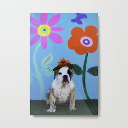 English Bulldog Puppy Wearing a Hat in front of a Spring Background with Tall Flowers Metal Print
