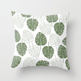Tropical forest green white monster leaves pattern Throw Pillow