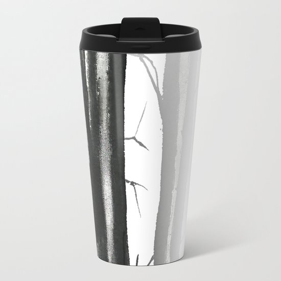wood, snow and fog Travel Mug