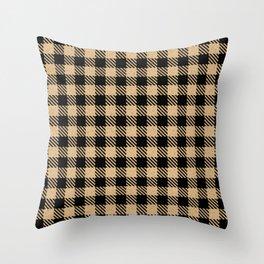 Burly Wood Bison Plaid Throw Pillow