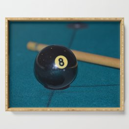 8 Ball and Pool Cue Perfect Father's Day Gift or For the Man Cave Serving Tray