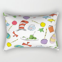 dr seuss pattern..  cat in the hat, lorax, oh the places you'll go,  Rectangular Pillow