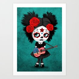 Day of the Dead Girl Playing American Flag Guitar Art Print