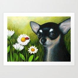 Black Chihuahua Dog Art Print