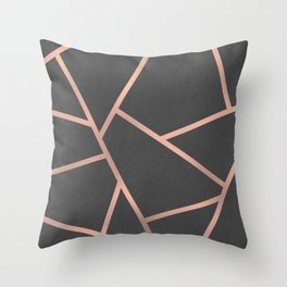 Dark Grey and Rose Gold Textured Fragments - Geometric Design Throw Pillow
