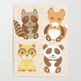 Funny cute raccoon, panda, fox, cat on dot background. Poster