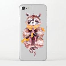 Raccoon buddha Clear iPhone Case
