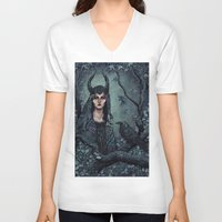 maleficent V-neck T-shirts featuring Maleficent by Angela Rizza