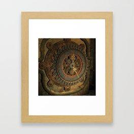 Steampunk, awesome clock, rusty metal Framed Art Print