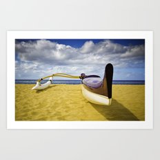Outrigger canoe on beach Art Print
