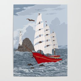 Red ship Poster