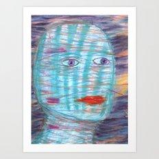 Plaid Head Art Print