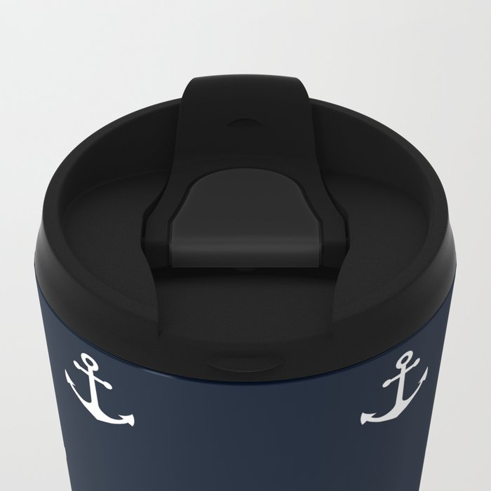 Dark Blue Anchor Pattern Metal Travel Mug