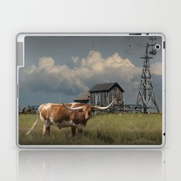 Longhorn Steer in a Prairie pasture by 1880 Town with Windmill and Old Gray Wooden Barn Laptop & iPad Skin
