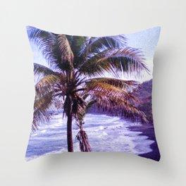 Original Black Sand Beaches and Palm trees Throw Pillow