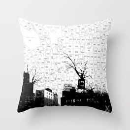 NYC splatterscape Throw Pillow