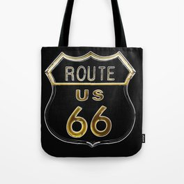 Route 66 American Road Sign Neon Tote Bag