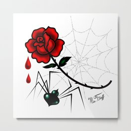 Black Widow Spider with Red Rose Metal Print