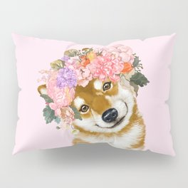Shiba Inu with Flower Crown Pillow Sham