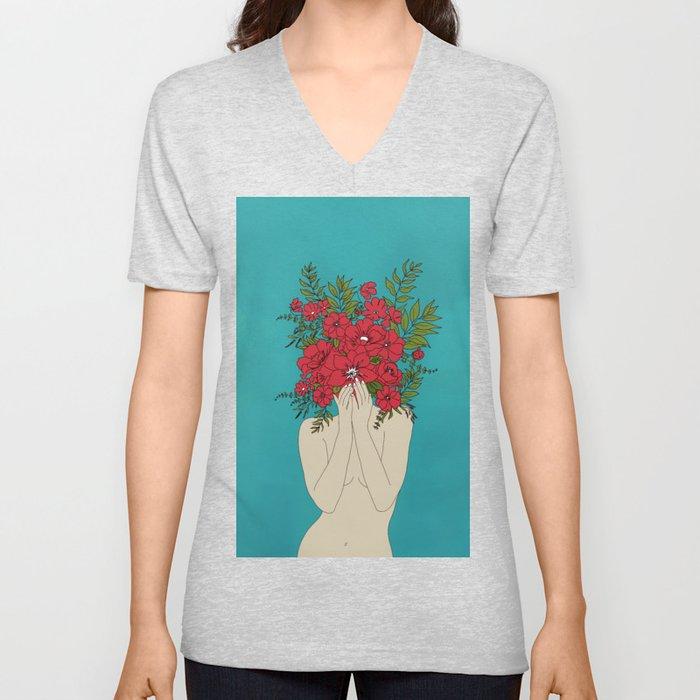 Blooming Red Unisex V-Ausschnitt