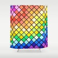 pantone Shower Curtains featuring Geo-Pantone by Aries Art