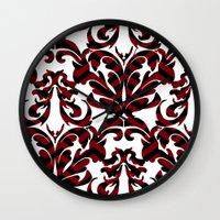 damask Wall Clocks featuring Damask by Annie Skrmetti