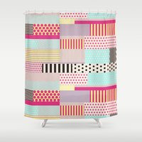 tape Shower Curtains featuring Decorative Tape by Louise Machado