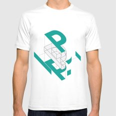 Exploded P MEDIUM White Mens Fitted Tee