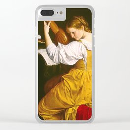 Girl playing the lute Clear iPhone Case