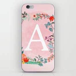 Flower Wreath with Personalized Monogram Initial Letter A on Pink Watercolor Paper Texture Artwork iPhone Skin