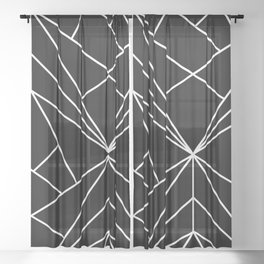 Geometrical black white abstract stripes pattern Sheer Curtain