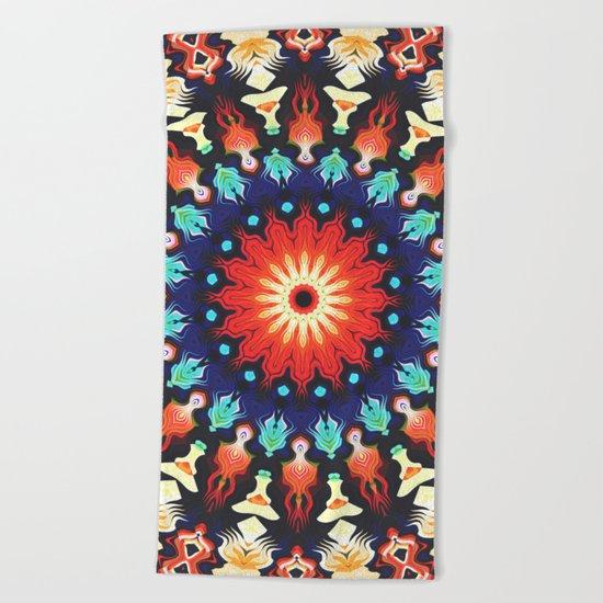 Colorful Mandala Motif Beach Towel