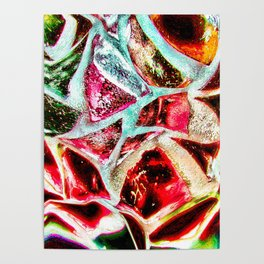 Melting stained glass abstract digital art Poster